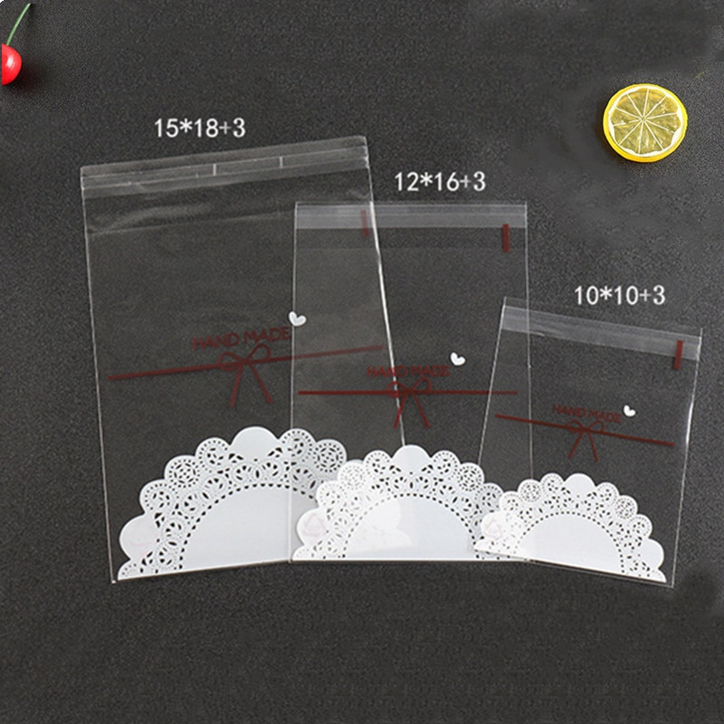 100 шт прозрачный кружевной бант бисквитная сумка конфетная сумка самоклеющийся Карманный свадебный подарок на день рождения украшение