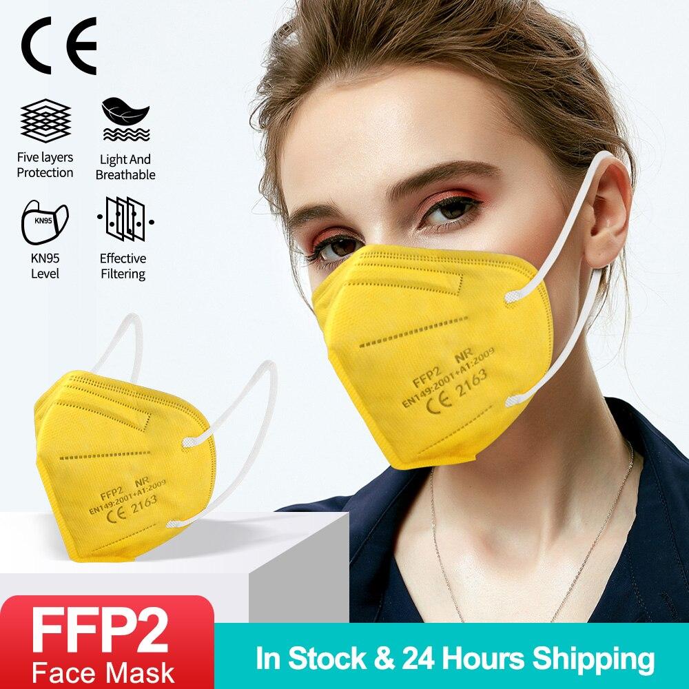 Masque buccal de protection réutilisable, 20 à 100 pièces, ffp2ce, ffp295, certifié kn95