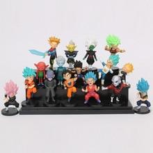 16pcs/set Dragon Ball Z Super Saiyan Son Goku Gohan Vegeta Vegetto trunks Jiren Freeza Mini PVC dragon ball Figures Toys