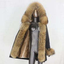 CXFS 2021 New Long Waterproof Parka Winter Jacket Women Real Fur Coat Natural Raccoon Fur Hood Thick
