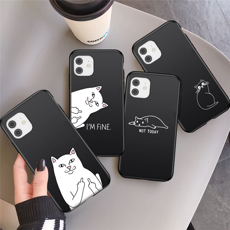 AliExpress - Funny Animal Phone Case For iPhone 11 Pro Max 7 8 Plus 12 Mini XS Max X XR SE 2020 6 6s Cartoon Cat Painting Soft Back Cover
