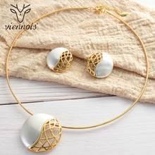 Viennes komplet biżuterii damskiej złoty kolor okrągły wzór naszyjnik kolczyki biżuteria Party