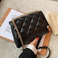 women pu leather solid color crossbody bag small square bag fashion diagonal rhombus pattern chain flap underarm bag