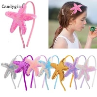girl beach sequins starfish princess mermaid headbands sparkly bling kids hair hoop glitter hairband for birthday party