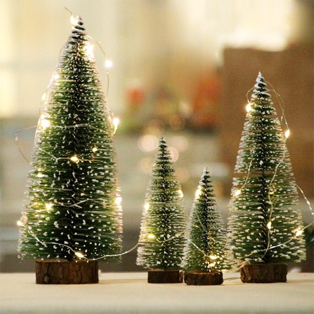 Mini árbol De Navidad con luz De cadena, pequeño pino De Navidad...