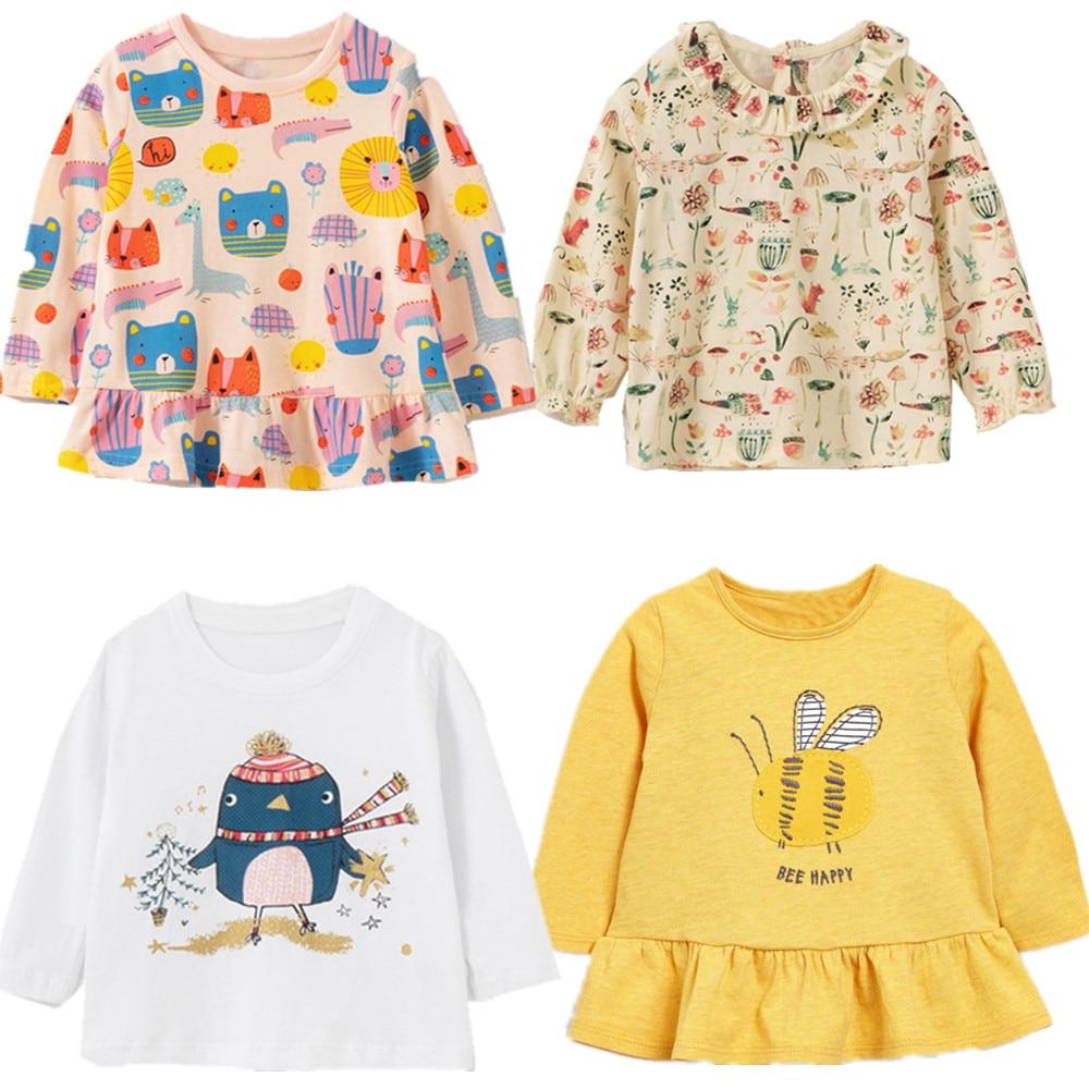 Brand New Uk 2020 Meisjes Lange Mouw T Shirts O Hals Met Kant Bloem Baby Meisjes Tops Kleding Herfst Kinderen kleding Kostuum