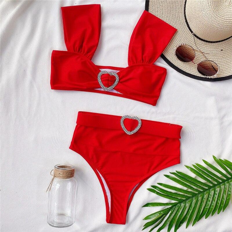 Bikini brasileño de talle alto para Mujer, traje de baño rojo con cintura alta, Bikini de banda para Mujer 2020