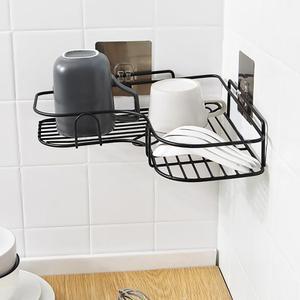 Bathroom Accessories Punch Free Corner Wall Shelf Bathroom Holder Metal Storage Rack Kitchen Tripod Corner Frame with 2 Hook