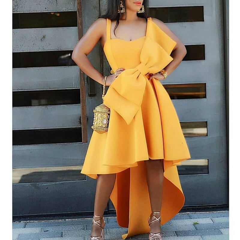 فستان كوكتيل قصير من الأمام وظهر طويل مع فيونكة كبيرة ، فستان سهرة ، حفلة ، متوفر
