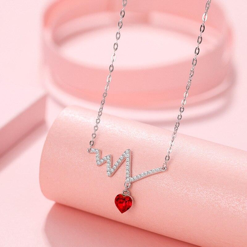 Genuina exquisito de corazón de plata 925 colgante largo collar de cadena gargantilla para mujeres rojo colgante de cristal para collar de moda collar