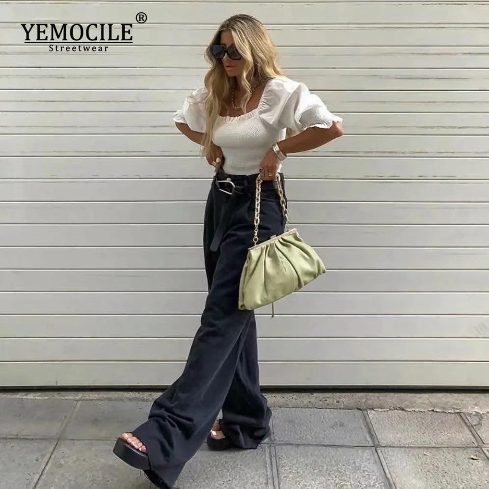 Casual Fashion Straight Leg Women's Jeans Denim Bottom Harajuku Boyfriend Long High Waist Baggy Jeans Fall Pants  - buy with discount