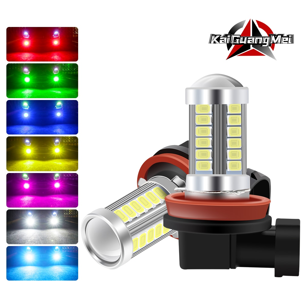 H11 H8 H4 H7 9005 9006 bombillas LED 33SMD 5730 luces antiniebla LED de coche DRL extremadamente brillante 6000K Blanco/ámbar/rojo/azul/rosa/Green-1pcs