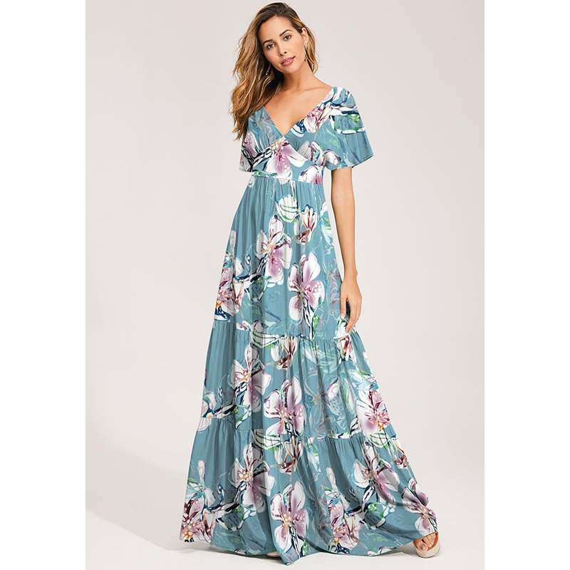Floral Printed Sexy V Neck Women Summer Short Sleeve Slim Bohemian Floor-length Dress Ladies Casual Beach Holiday Robe SJ5448M