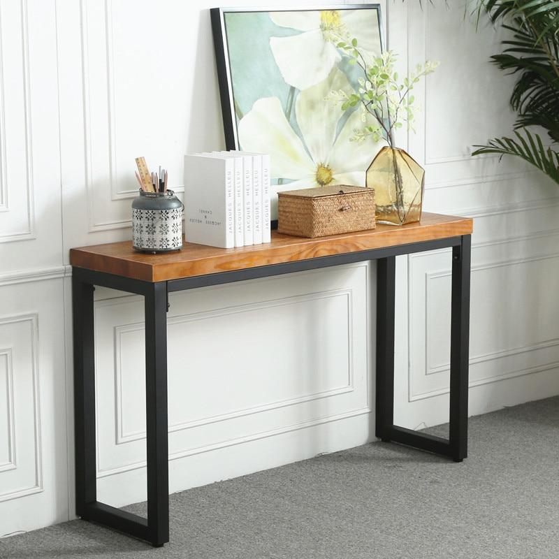 النمط الصناعي الأمريكي الرجعية خشب متين الحديد المطاوع شرفة الجدول الجانب عداد طاولة ضيقة طويلة من الجدار