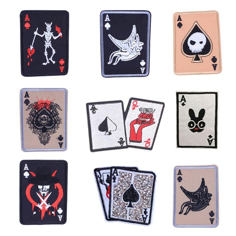 DIY juego de cartas, parches bordados en Apliques de transferencia de calor, parche, insignia para ropa, pegatinas para mochila, pegatina de rayas impresas