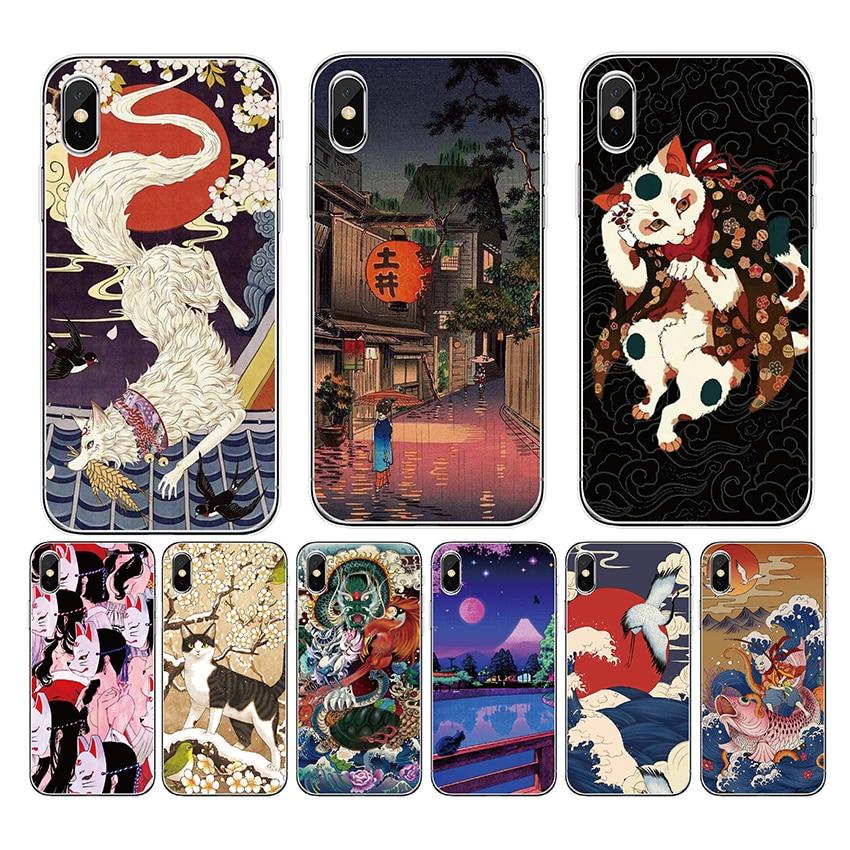 Funda para iPhone11 pro X XS MAX XR 8 5 S 5S SE 7 Plus 6 6S funda para teléfono móvil TPU suave de silicona de arte japonés