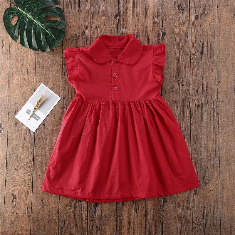 Vestidos infantiles para niñas, ropa de color rojo liso de manga larga, ropa informal para el colegio, Vestido Infantil para niñas de 1 a 6 años