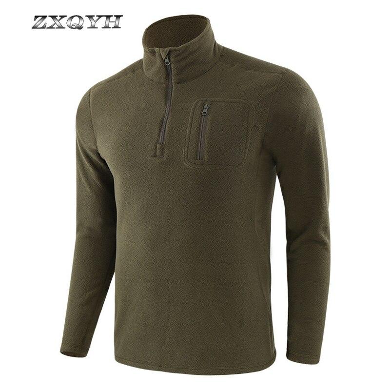 Inverno velo t-shirts manga longa forro quente topos caminhadas acampamento ao ar livre esporte shirs pesca militar tacitcal masculino camisetas