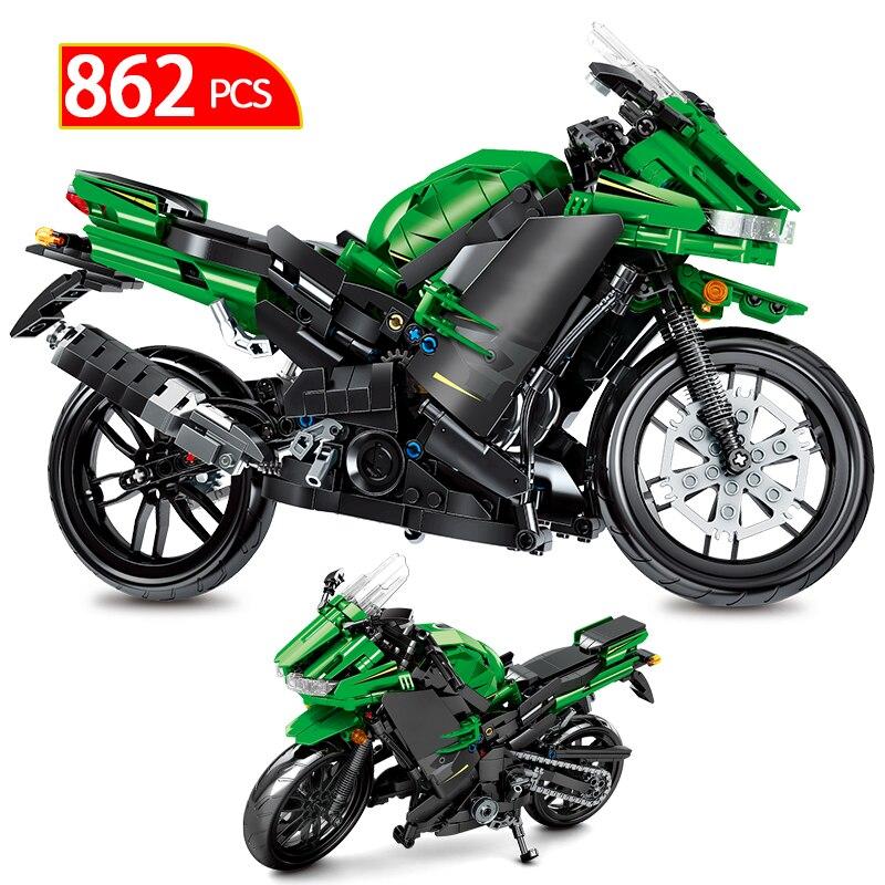 862 Uds. Creador de ciudades, motocicleta de carreras o coche técnico, modelo de motocicleta de carretera, bloques de construcción, juguetes para niños, regalos