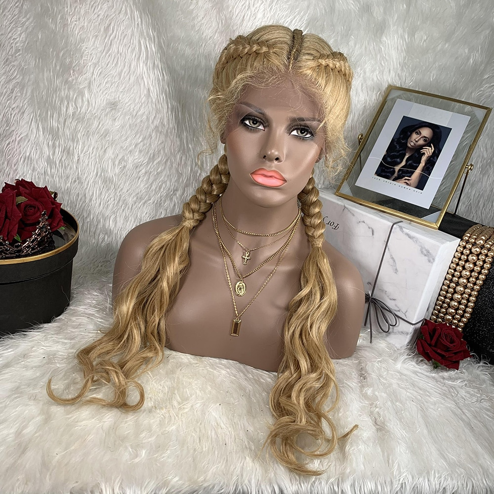 Braided Synthetic Wig Boxed Wave Cornrow TOOCCI 2 Braids 30 Inch Hair Wig Lace Front For African black Women