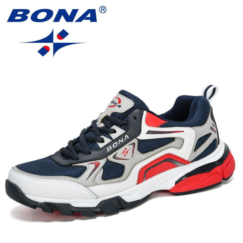 BONA-أحذية رياضية جلدية للرجال ، أحذية رياضية مريحة للجري ، نمط جديد ، 2020
