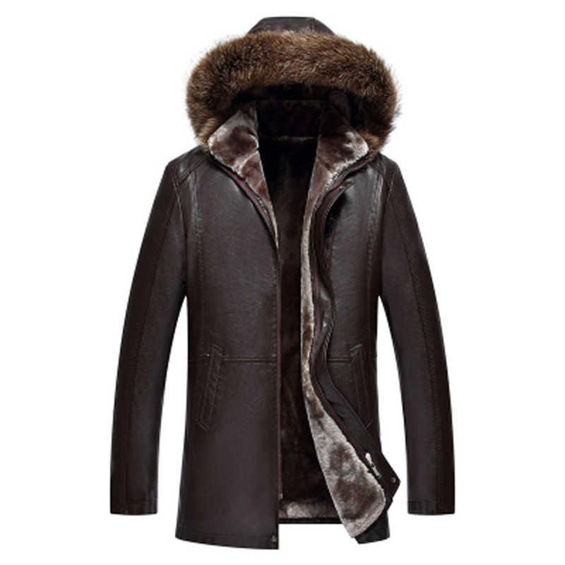 الملابس رجل الشتاء معطف جلد الغنم الطبيعي جلد كم طويل زر عارضة يتأهل Casacas معطف بركة (سترة من الفراء بقبعة للقطب الشمالي) مكتب الأعمال سترة