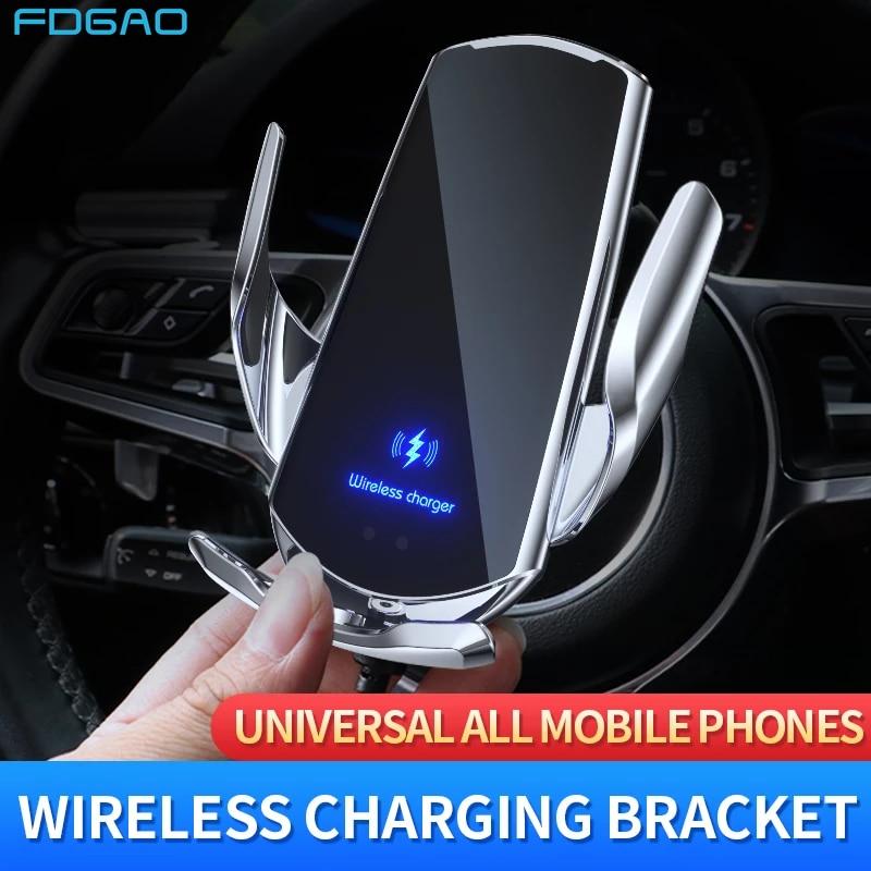 شاحن سيارة لاسلكي 15 واط ، مع مستشعر مغناطيسي بالأشعة تحت الحمراء ، USB ، لهاتف Samsung S20 S10 iPhone 12 Pro 11 XS XR X 8