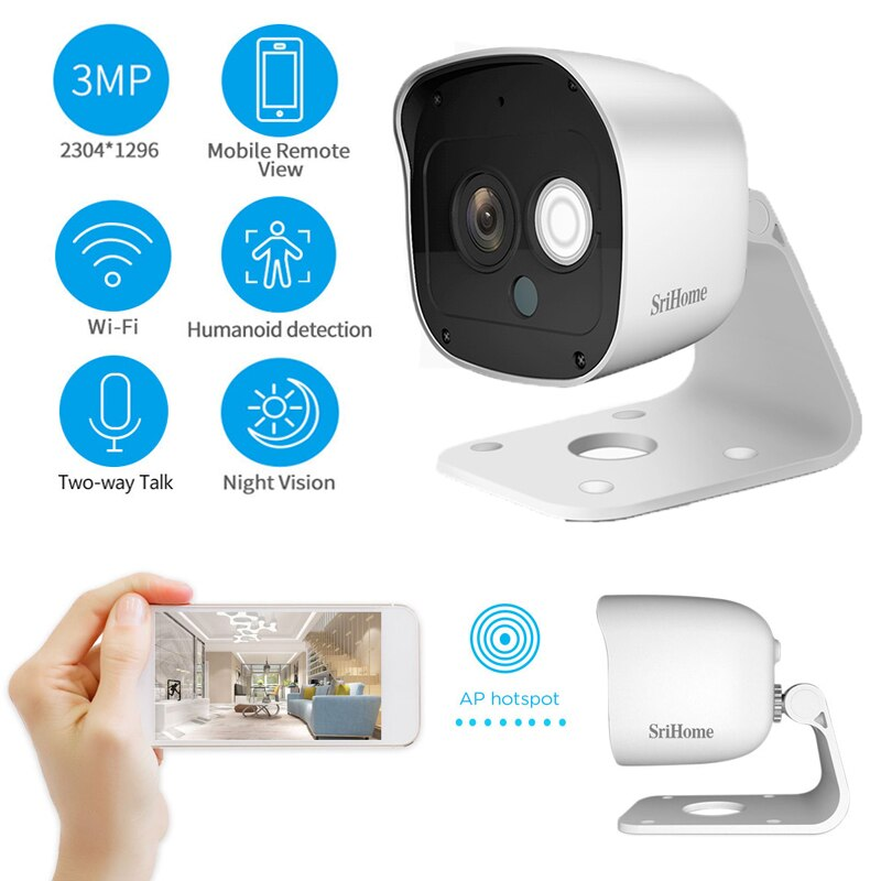 Cámara de vigilancia de visión nocturna remota, impermeable, HD 1296P, Mini cámara IP inalámbrica de dos vías, cámara de detección humanoide intercomunicador