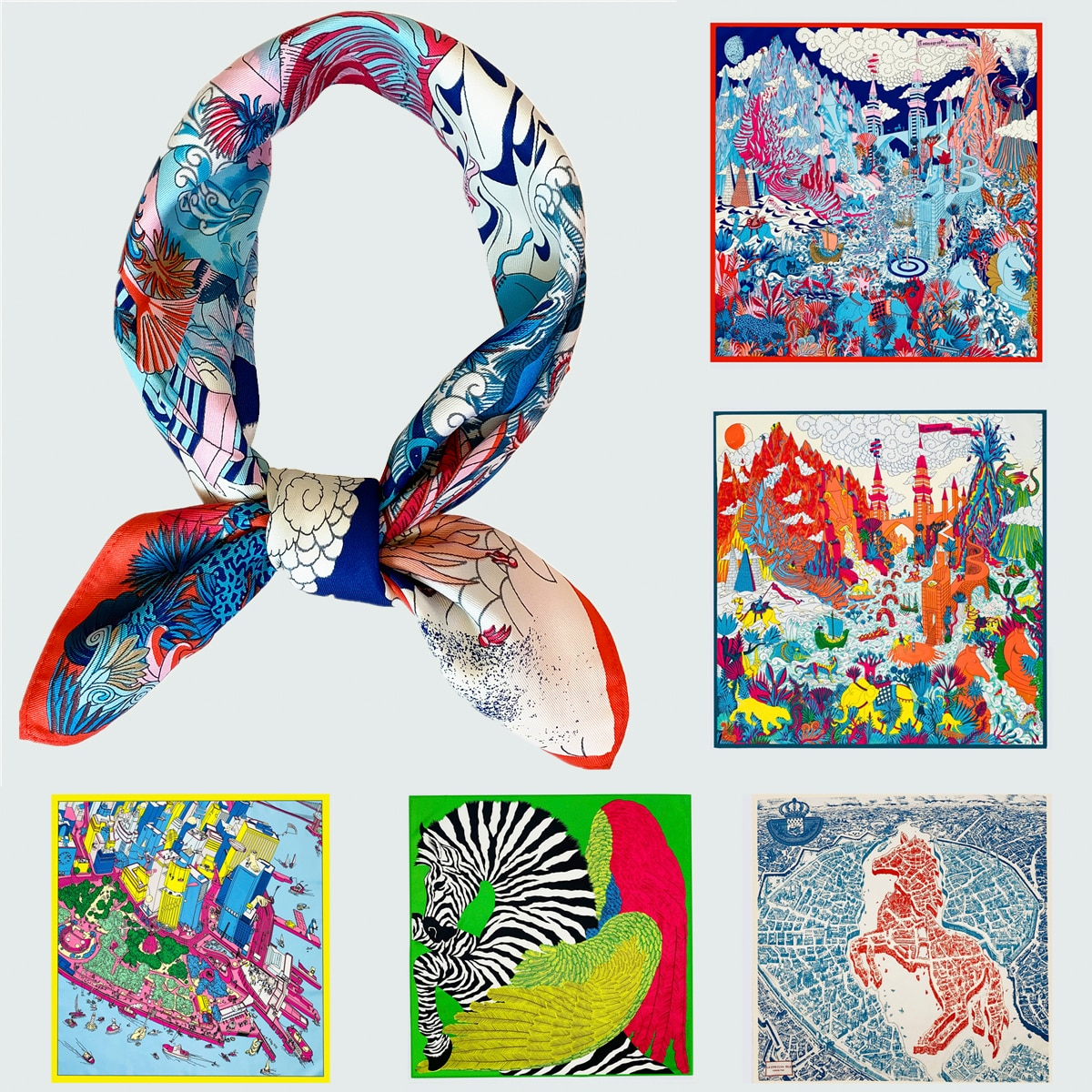 fashion small square 40% natural silk women scarves brand patchwork moon stars woman neck scarf for bags bandana hijab 60 60cm 53cm Brand Scarf Women Silk Scarf Hijab Square Scarves Fashion Bandana Headband Leopard Elephant Horse Neckerchief For Ladies