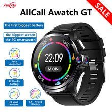 Original Allcall Awatch GT 4G étanche montre intelligente 3GB 32GB 1260mAh batterie 1.6 pouces double caméra visage ID Smartwatch téléphone