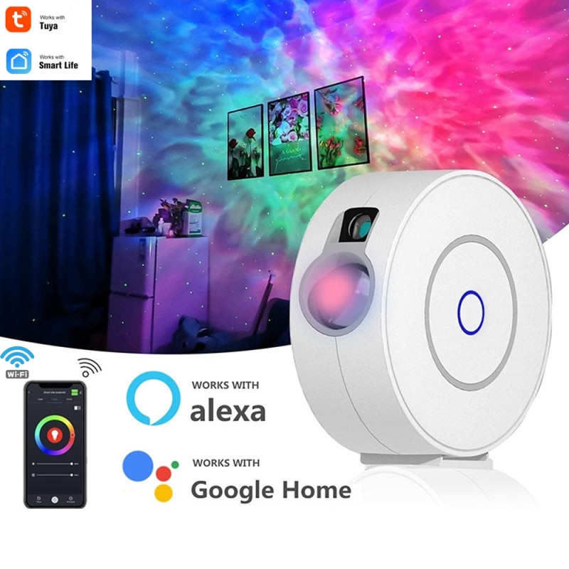 Tuya-جهاز عرض LED ذكي مع صورة السماء المرصعة بالنجوم ، جهاز عرض ملون مع WiFi ، يلوح ضوء ليلي ، تطبيق تحكم لاسلكي مع Alexa