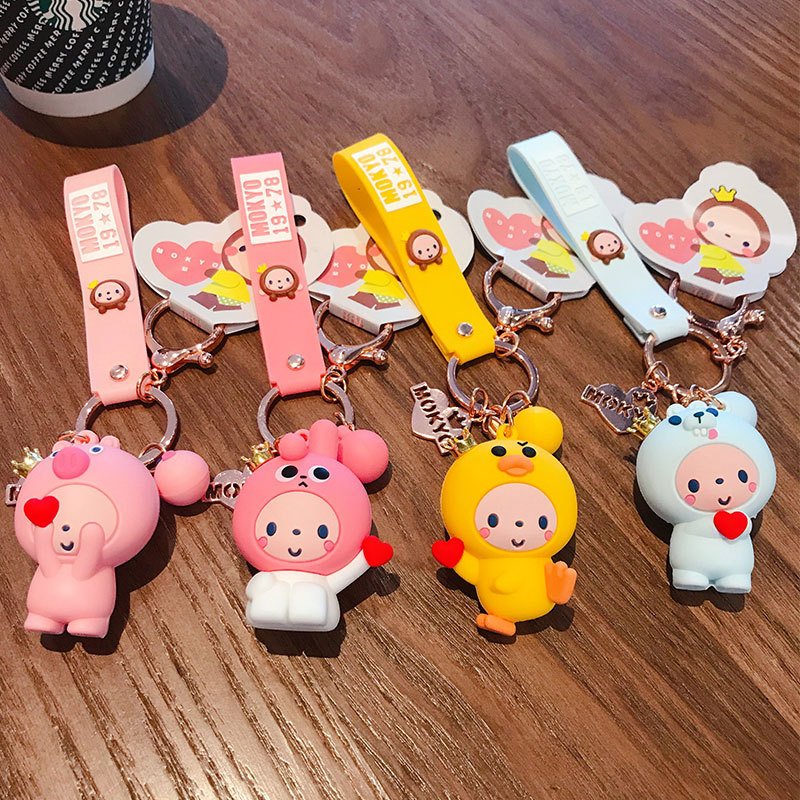 2020 novo coreano dos desenhos animados coroa macaco chaveiros bonito silicone boneca chaveiros pequeno em pó porco casal menina presente de aniversário chaveiro