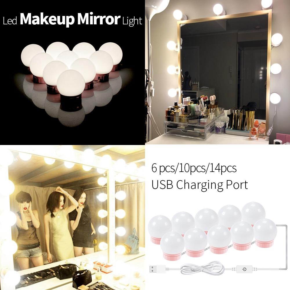 Lámpara LED de maquillaje USB Luz de tocador espejo LED de maquillaje luz LED 12V Hollywood tocador lámparas de mesa continua regulable 2 6 10 14 bombilla