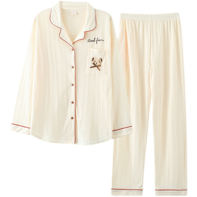 Pure Cotton Pajamas Women's Spring And Autumn Long Sleeve Thin 2021 Cardigan Women's Home Clothes Se
