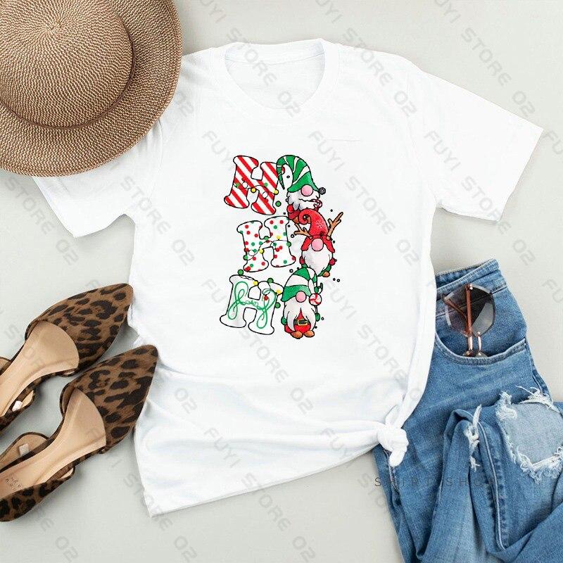 Merry Christmas 2020 Santa's Print Women T-shirt Christmas Santa Print Graphic T Shirts Harajuku Xmas Tees Unisex Tops & Tees