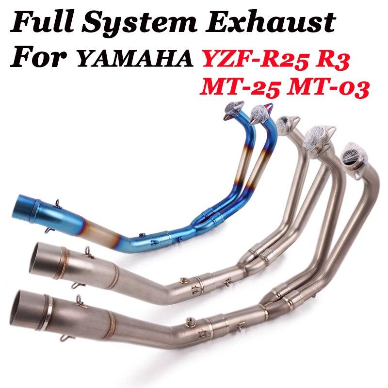 دراجة نارية نظام العادم الأنابيب الهروب الجبهة وصلة الأنابيب الانزلاق على محفز الاتصال الأصلي لياماها R3 R25 YZF-R3 R25 MT03 MT25