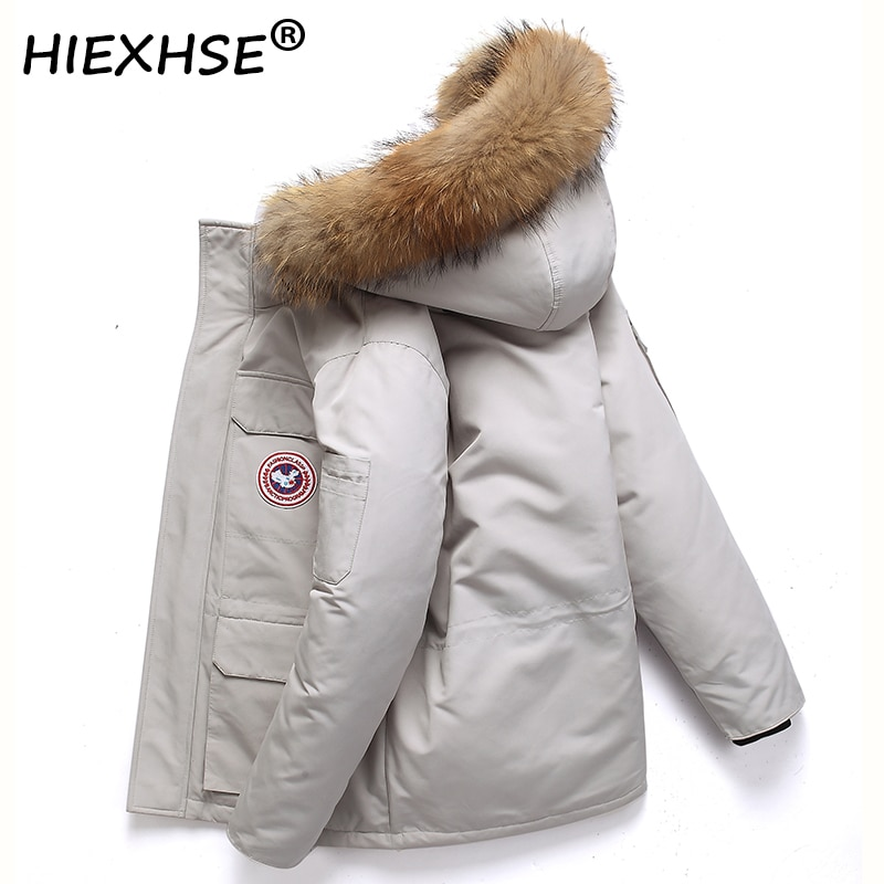 XIEXHSE Thicken Men's Down Brand Jacket with Big Real Fur Collar Warm Parka -30 Degrees Men Casual W