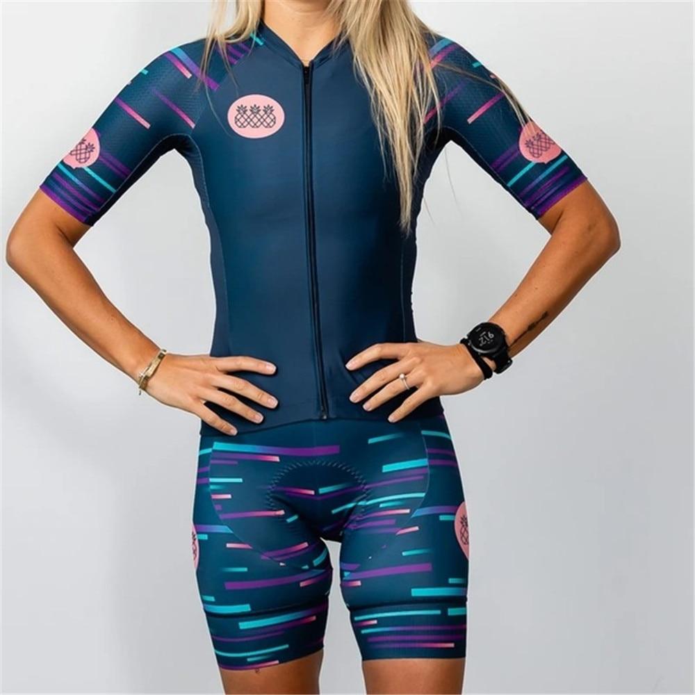 Conjunto de camisetas de Ciclismo para mujer, kit de envoltura corta, Maillot,...