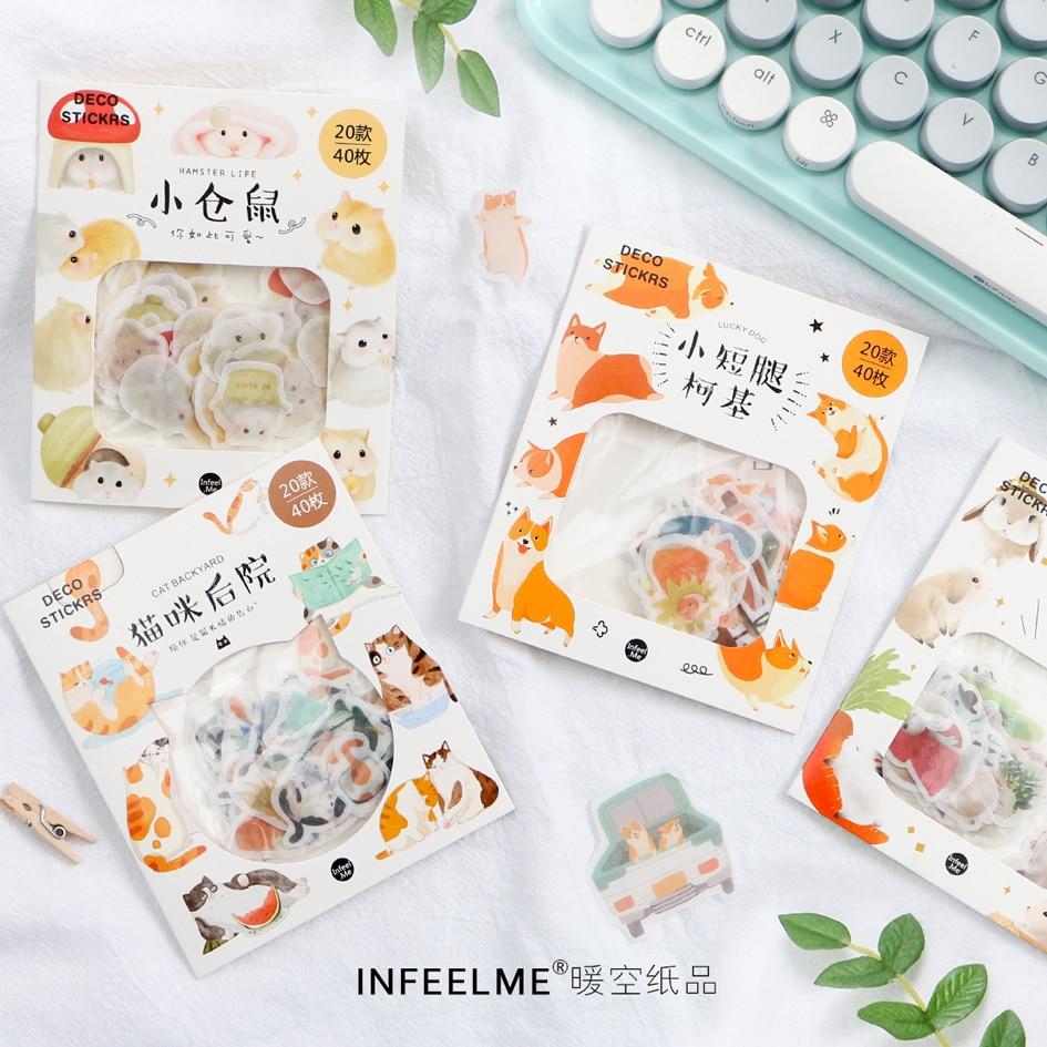 1 Pcs Kawaii Stationery Sticker Cute Hamster Decorative Mobile Stickers Scrapbooking Craft