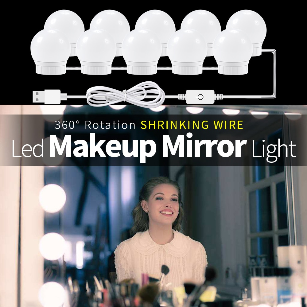 USB LED 12V Makeup Lamp Wall Light Beauty 2 6 10 14 Bulbs Kit For Dressing Table Stepless Dimmable H
