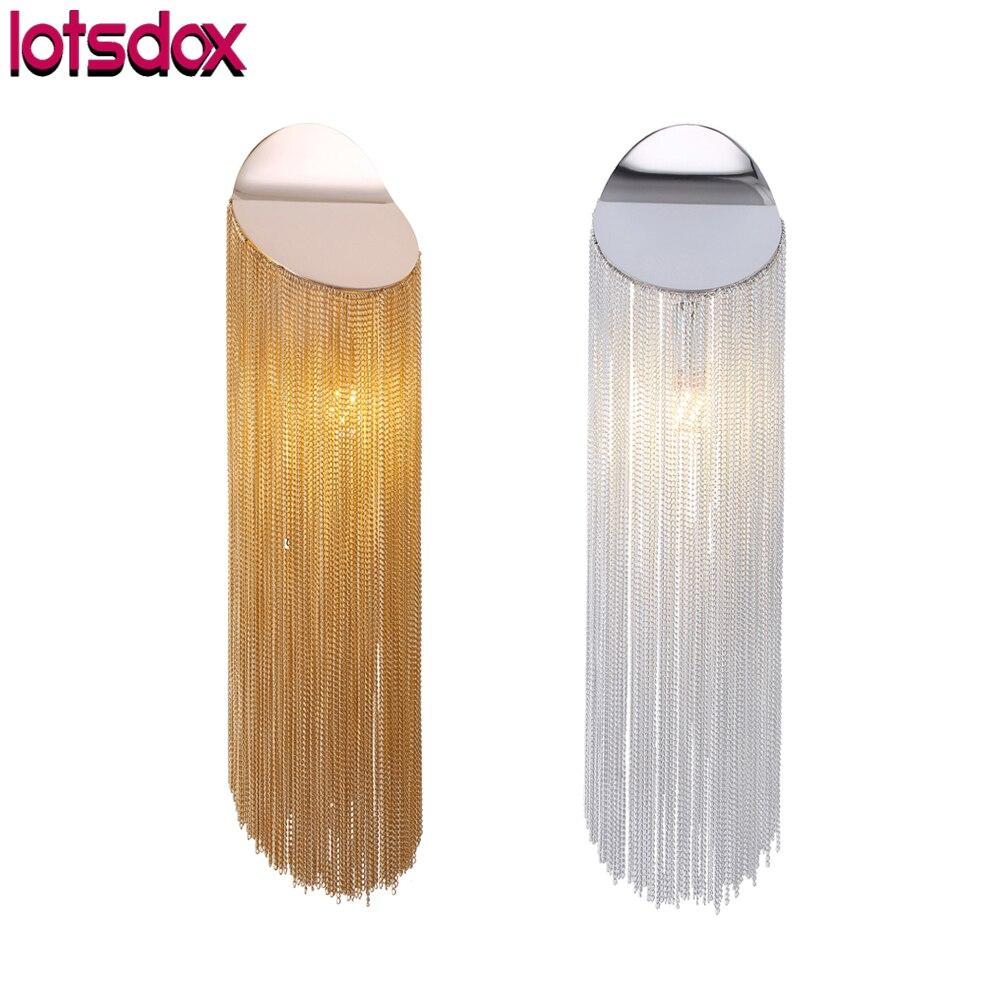 مع LED لمبات E14 Chroom/أسود/ثانية الذهب باس و سلاسل الجدار مصباح Modrn الألومنيوم شرابة جميلة بار مصابيح غرفة المعيشة ديكور