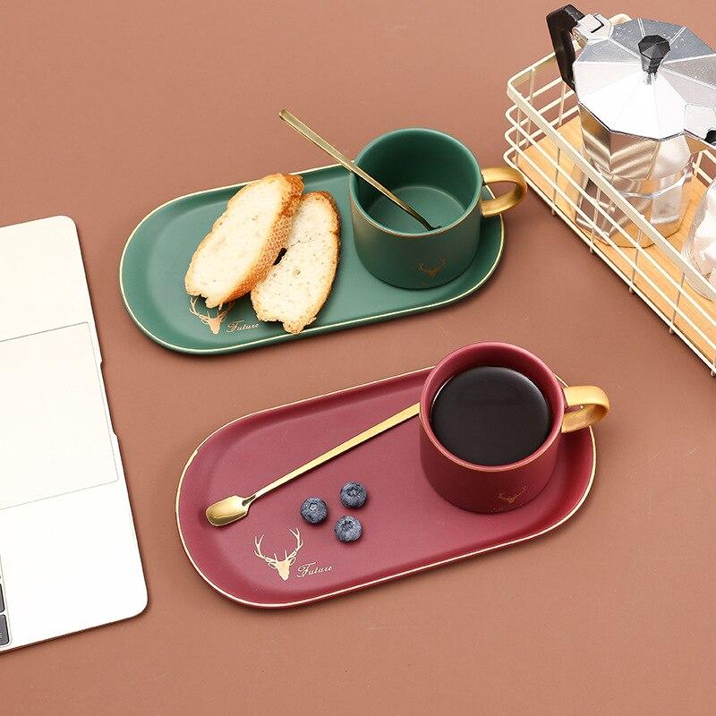 Nórdica set de tazas de café de cerámica desayuno taza platillo tazas de ceramica creativas tazas con cuchara con platillo china de hueso