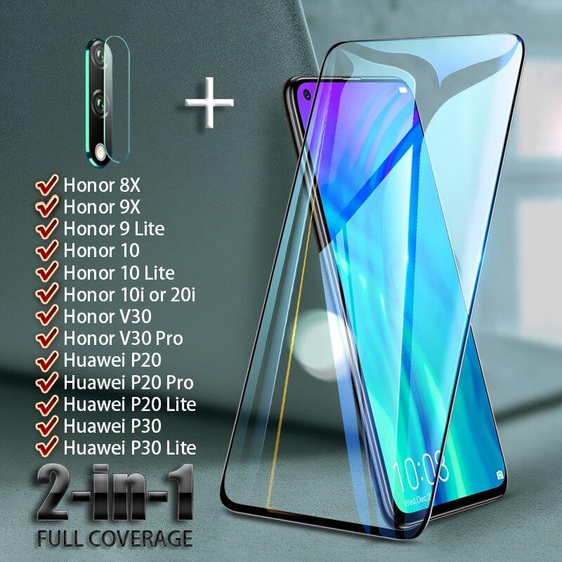 Полное покрытие экрана протектор для Huawei Honor V30 Pro 8X 9X 9 10 lite 20i 10i закаленное стекло объектив камеры на Huawei P30 P20 lite