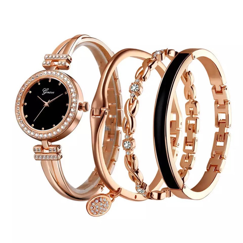 Ginave Watch Women Rose Gold Diamond Bracelet Watch LuxuryJewelry Ladies Famale Girl Hour Casual Quartz Wristwaches 4 PCS Set enlarge