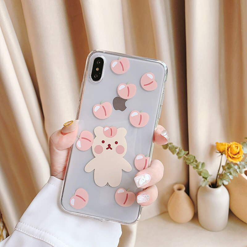 2020 Fashion Cute Peaches Bear Case For iPhone 11PROMAX 11 11PRO 6 6S 7 8 6S Plus 7Plus 8Plus X XS MAX XR Transparent Soft Cover