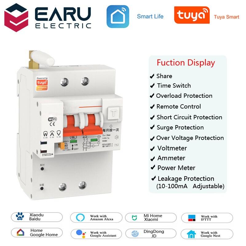 TUYA 2P 4P 10-63A 220 فولت الذكية واي فاي مفتاح قاطع الدائرة حماية التسرب استهلاك الطاقة كيلو واط ساعة متر الفولتميتر مقياس التيار الكهربائي