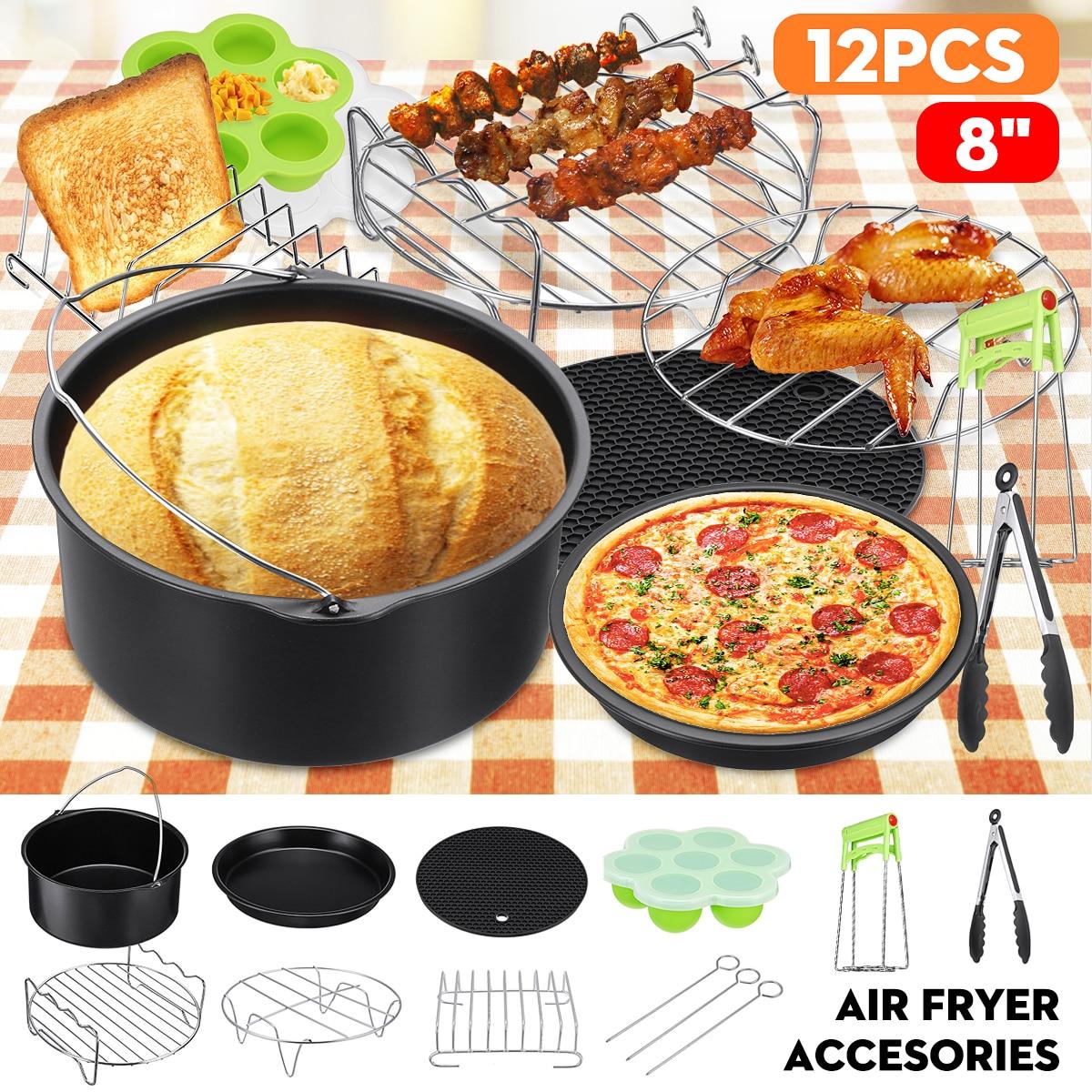 عدد 12 قطعة/المجموعة/مجموعة ملحقات مقلاة هوائية بطول 8 بوصات أدوات طهي منزلية للمطبخ لأغراض الشواء والخبز والطبخ والمقبلات الهوائية 4.2-6.8QT