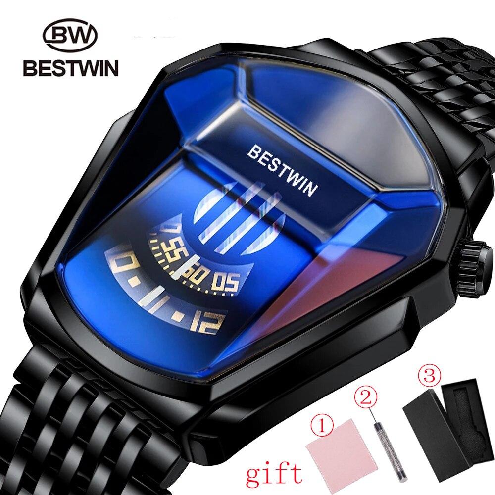 Superior de Luxo Relógio para Masculino Bestwin Homens Relógios Marca Esporte Militar Ouro Quartzo Pulso Homem Relógio Casual Wristwat 2021