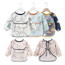 Baby Bib Waterproof Apron Long Sleeve Art Smock for Kids Chest Protection Feeding Bibs