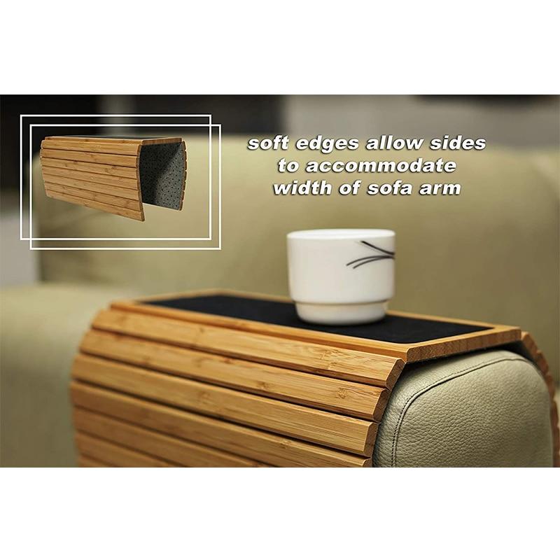 الطبيعية الخيزران أريكة مسند الذراع-المضادة للانزلاق الأريكة كوستر ، حامل مشروبات مسند الذراع الجدول ل تربيع حافة مساند الذراع